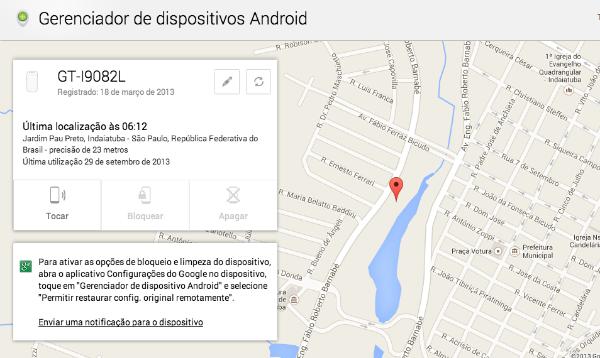 mapa gerenciador de dispositivo android