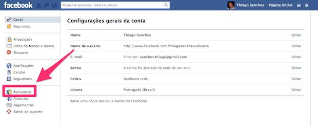 gerenciamento de aplicativos facebook