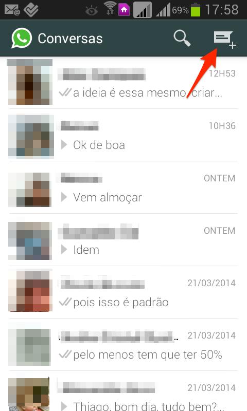 procurando contatos no whatsapp