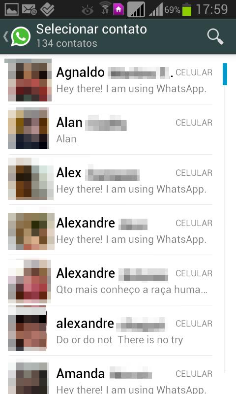 selecionando contato no whatsapp
