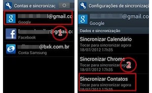 sincronizando conta google no android