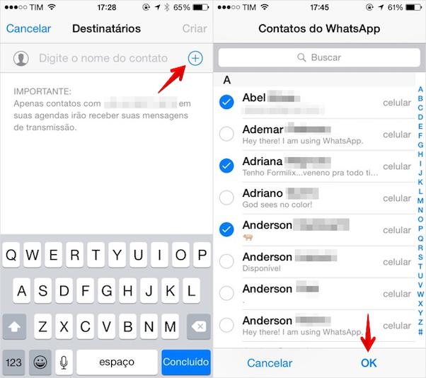 adicionando contatos a lista de transmissão do iOS